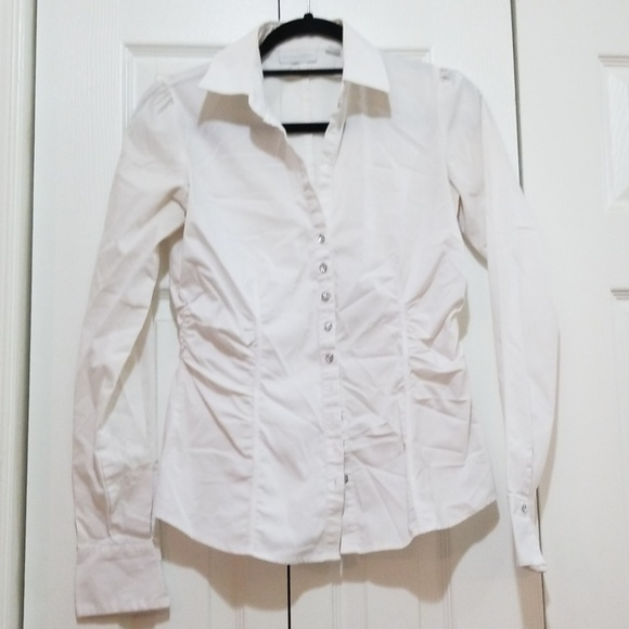 New York & Company Tops - White button down shirt with sparkly buttons